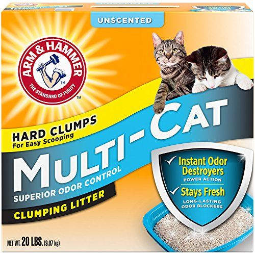 Arm & Hammer Multi-Cat Litter, Unscented, 20 Lbs (Packaging May Vary) - This product has a great performance, quality and price. The more cats you have, the more you need the extra-strength odor-blocking protection.. Multi-cats activated baking soda crystals absorb even the toughest odors.. Most advanced clumping technology makes scooping a snap.. Unscented.. Manufac...