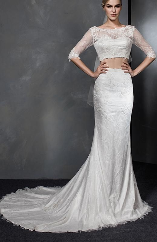 6bb1b36410e4a Two Pieces Half Sleeves Lace Wedding Dresses