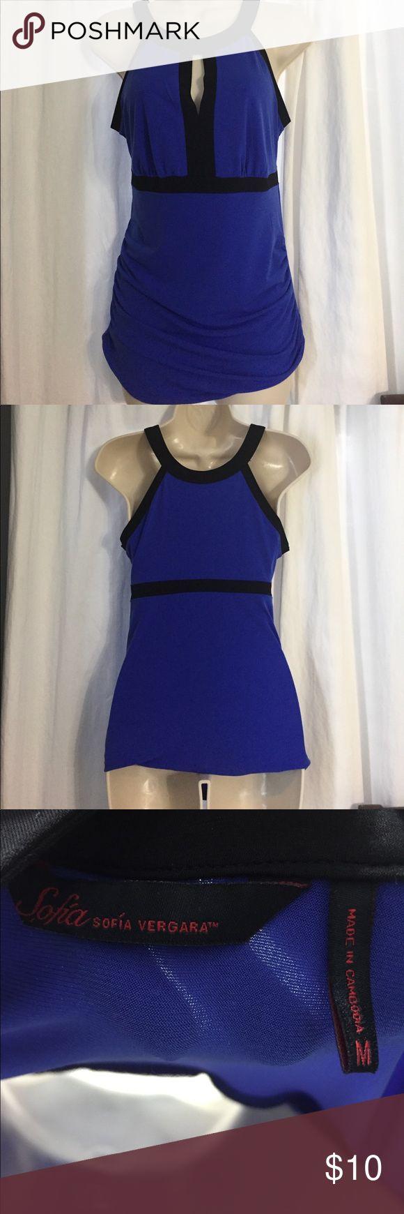 Royal Blue and black dress shirt Royal blue and black blouse by Sofia Vergara size Medium. Worn once. Like new Sofia Vergara Tops Blouses