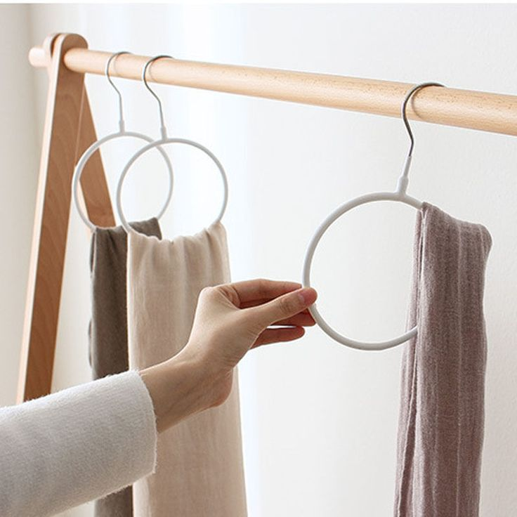 2PCS Ring Scarf Holder Tie Hanger Belt Closet Clothes Organizer Hook Storage | eBay