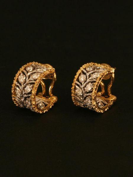 Buccellati The Diamond Leaf Hoop Earrings