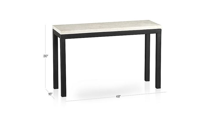 Shop Parsons Travertine Top/ Dark Steel Base 48x16 Console.   More than meets the eye, the Crate and Barrel Parsons console table is constructed of hot-rolled steel with handcrafted details.