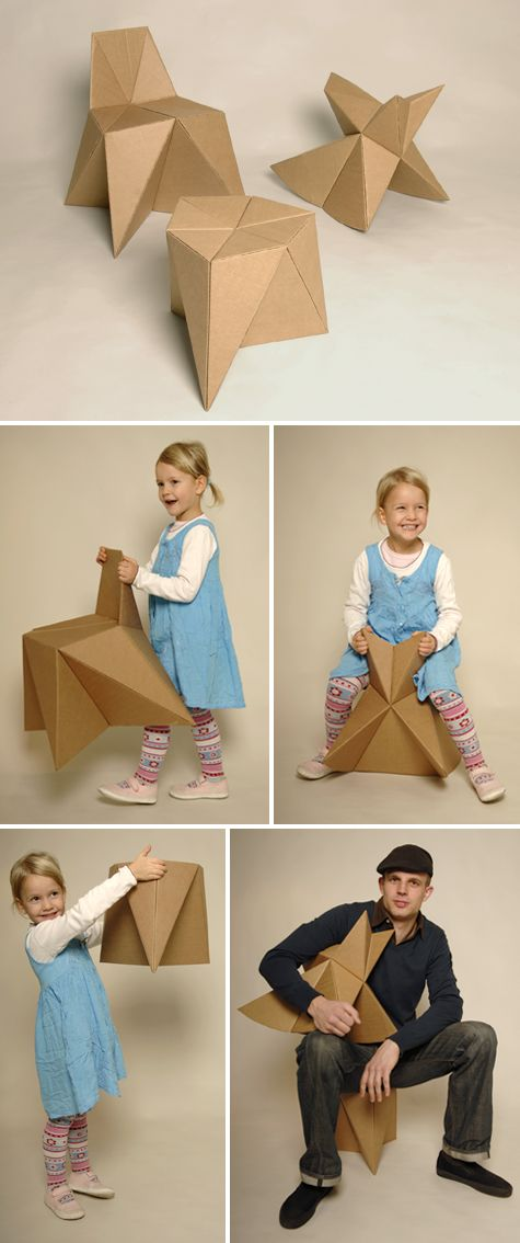 Foldschool is a collection of free cardboard furniture for kids, handmade by you. The downloadable patterns can be printed out with any printer. The collection includes a stool, chair and rocker.