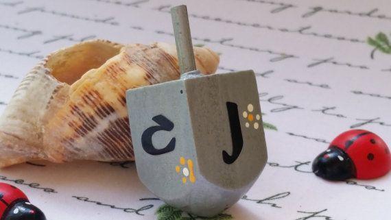Hanukkah Dreidel, Wooden Toy, Spinning top, Hanukkah Gift, Artist Judaica, Jewish spinning toy, Floral spinning top, Artist Judaica, סביבון