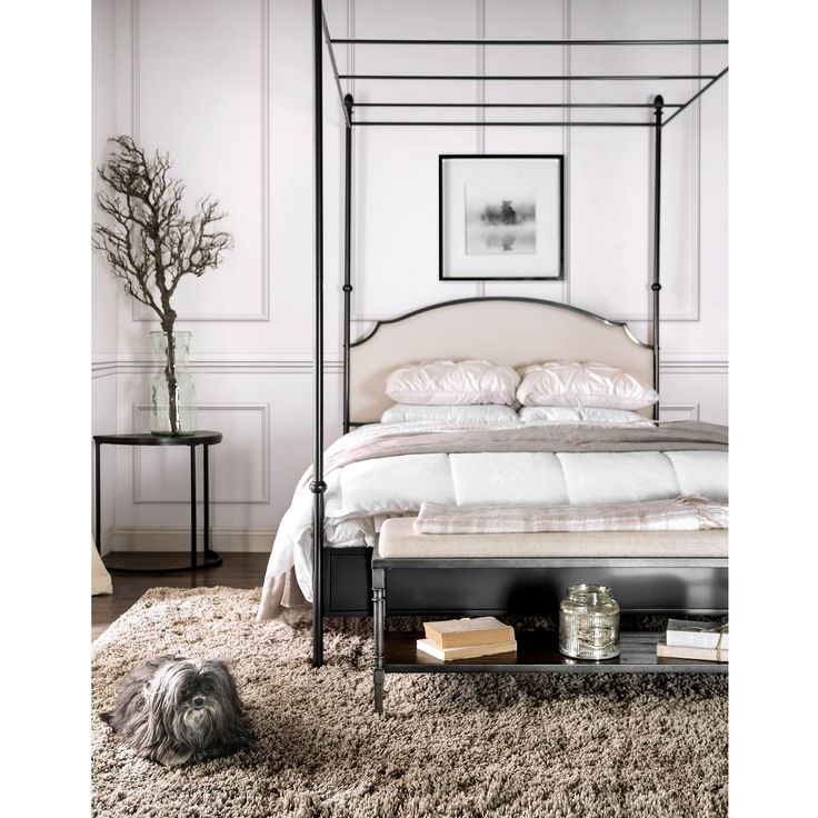 furniture of america karis arched upholstered metal canopy bed shopping the