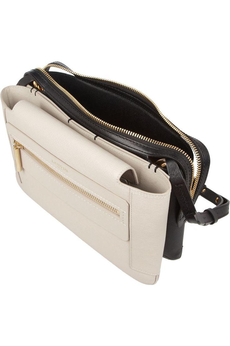 Lanvin   Two-tone textured-leather shoulder bag