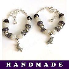 Black and Silver European Style Charm Bracelet With Tibetan Silver Raven Charm  | eBay