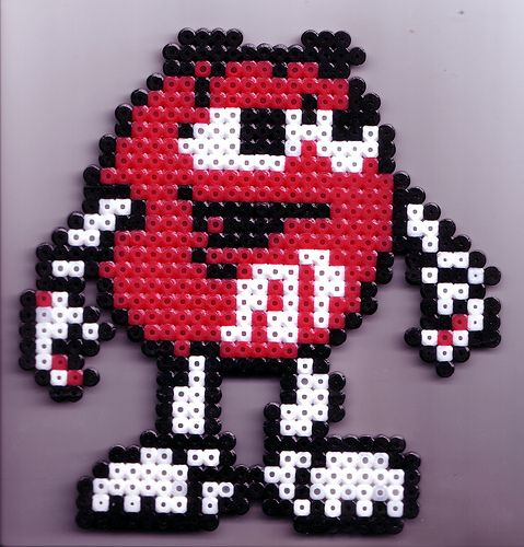 Red M perler beads