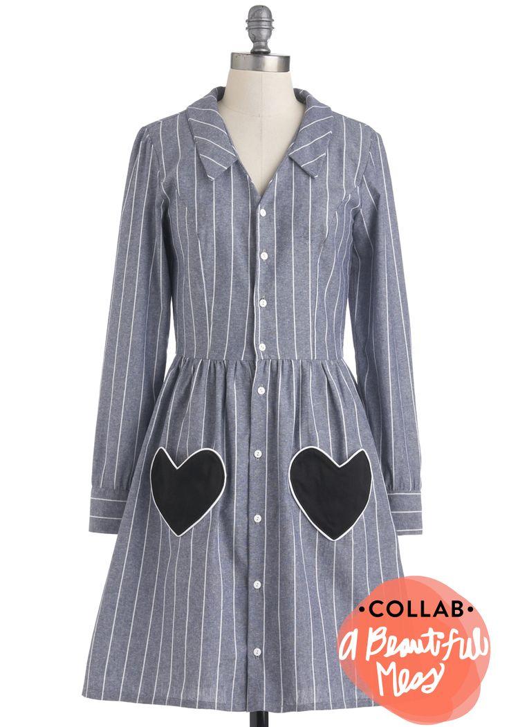 Modern Heart Dress - Blue, White, Stripes, Buttons, Pockets, Casual, Shirt Dress, Long Sleeve, Fall, Black, Cotton, Mid-length, Exclusives