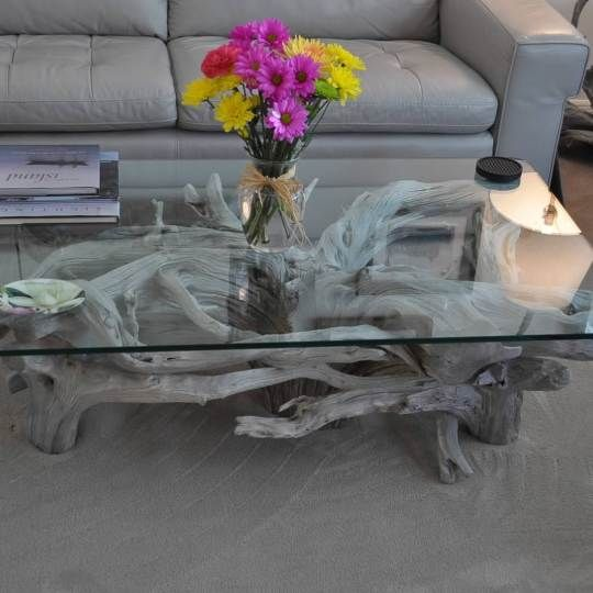 Glass top driftwood coffee table | Driftwood Decor