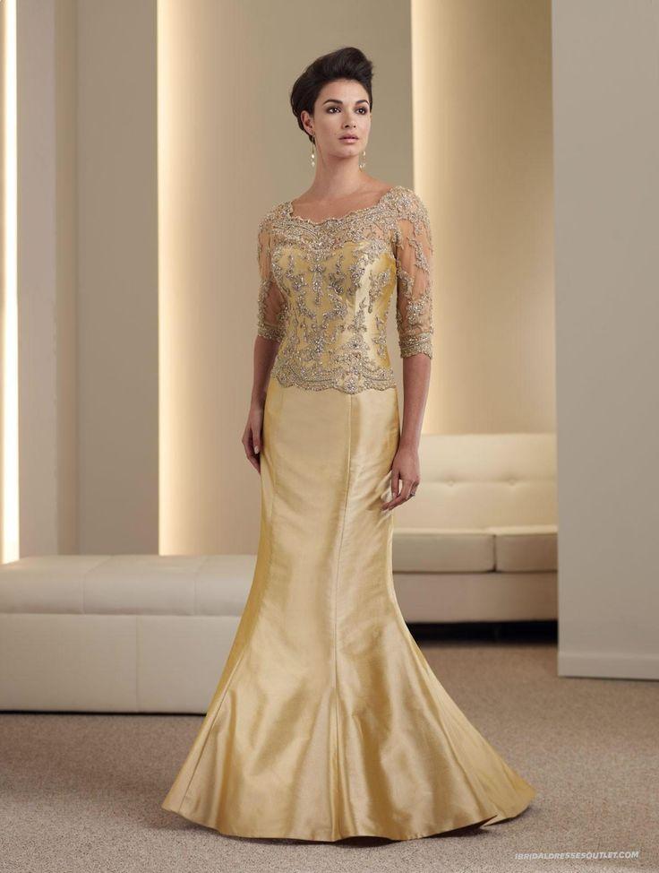Lovely Mermaid Silk Shantung Corset Bodice Scalloped Scoop Neckline Mother of the Bride Dress Canada Wedding Dresses Shop