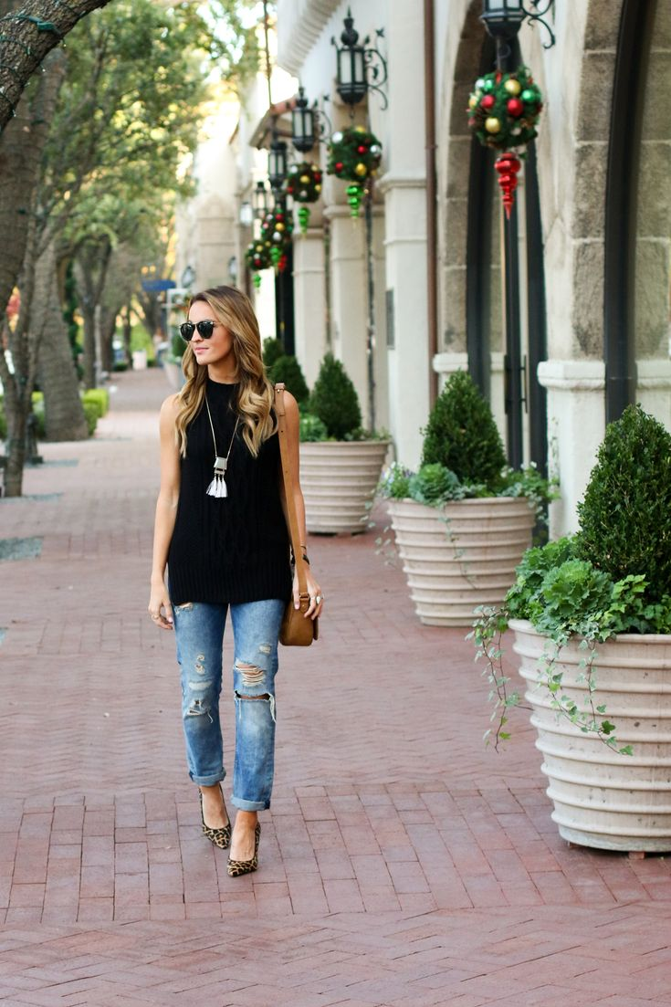 sleeveless sweater and boyfriend jeans