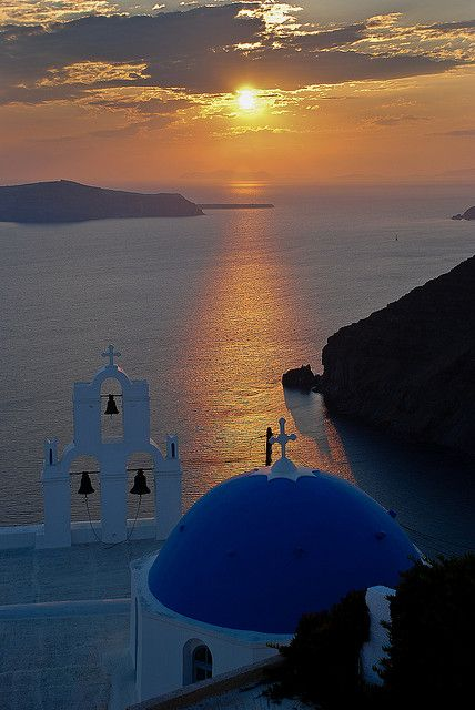 "Io, Santorini, Greece - ""Santorini Sunset"" I have this as a postcard my holiday Greek boyfriend sent me. We were 5years old!"