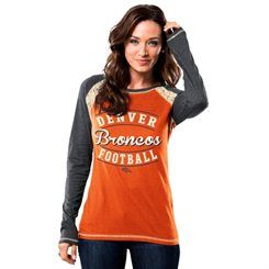 Women's Denver Broncos Majestic Orange/Gray Fantasy League Long Sleeve T-Shirt
