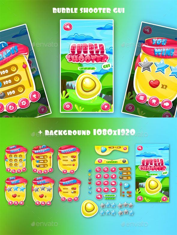 Bubble Shooter Game Interface Download here: https://graphicriver.net/item/bubble-shooter-game-interface/19484084?ref=KlitVogli