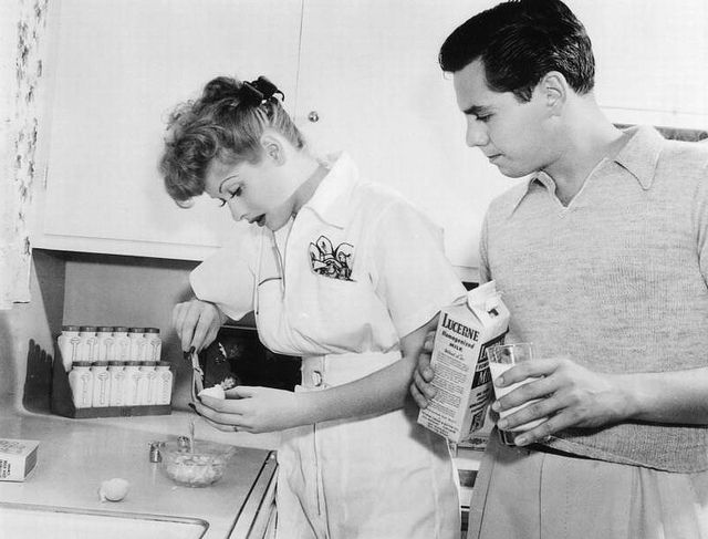 Cooking with the Young Married Couple    Lucille Ball and Desi Arnaz in the 1940's