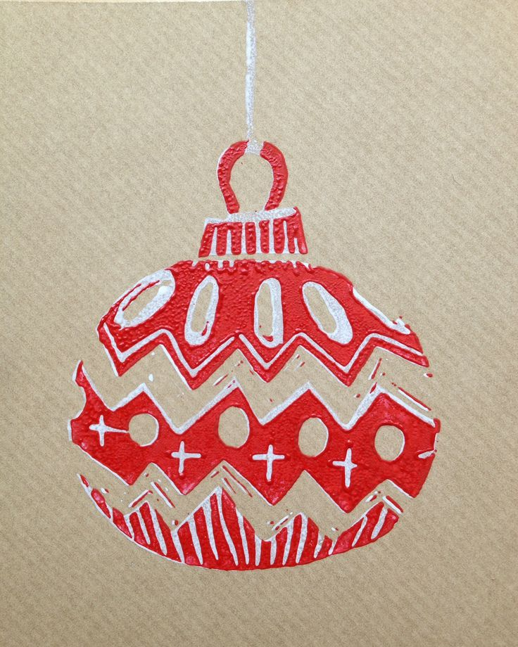 Lino print bauble.                                                                                                                                                                                 More