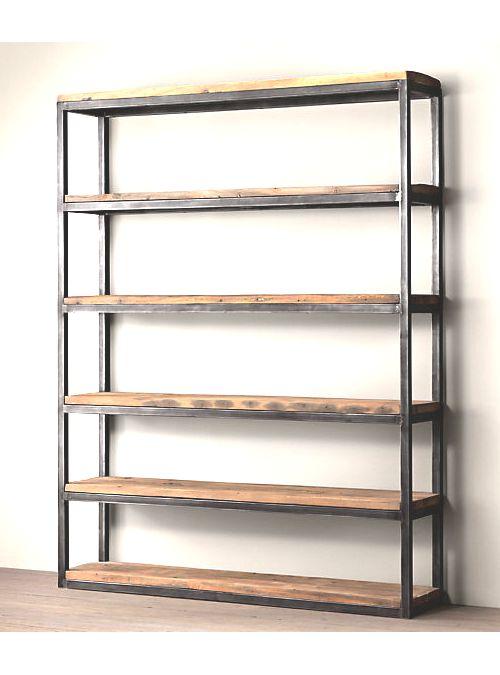libreria da soggiorno ferro e legno