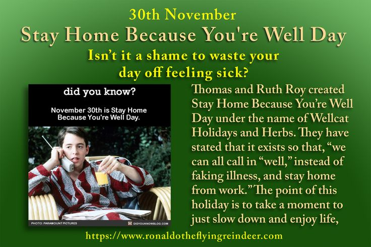 #today 30th November is #StayHomeBecauseYoureWellDay Here are some suggestions if you are having trouble deciding what to do. Catch up on some reading. Take a walk. Get started on your Christmas cards. Follow a toddler around all day. You do feel well, remember?  Take a nap #NationalMousseDay #StayHome  #stayathome #Stayhomeday #stayathomeday #relax #metime