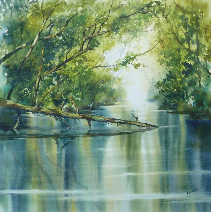 Aquarelle Anne larose: lumière sur courant d'Huchet