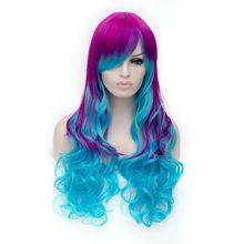 여성 코스프레 의상 애니메이션 가발 로즈/블루 선염 머리 긴 물결 모양의 합성 전체 가발 가짜 머리 내열 섬유 Peruca Peluca(China (Mainland))