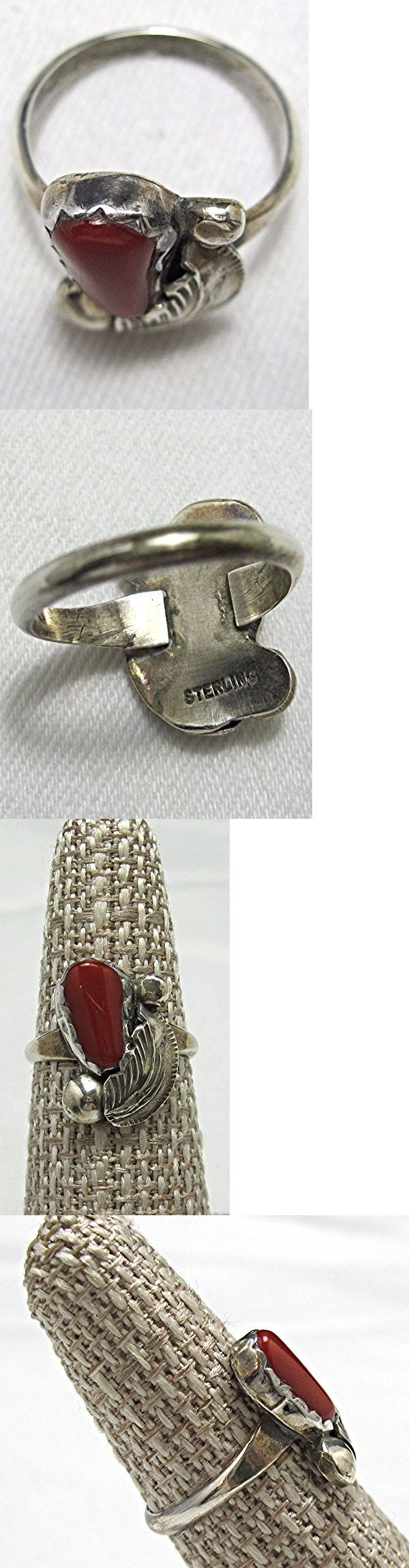Native American pre-1935 165137: Estate Vintage Carmelita Simplicio Zuni Sterling Red Coral Ring Sz 6 1 2 Be330 -> BUY IT NOW ONLY: $59 on eBay!