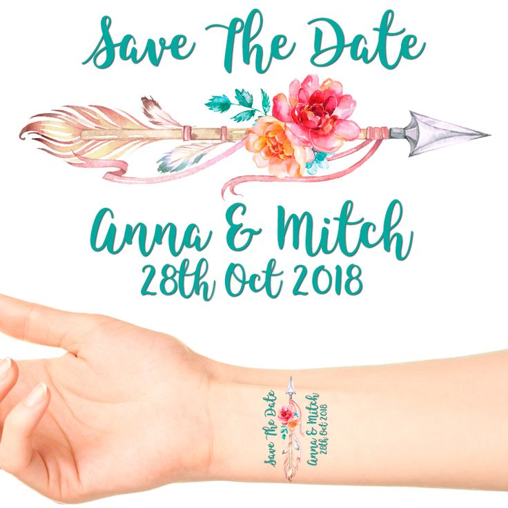 Personalised Save The Date Temporary Tattoos #3 (18 pack) Put one of these on each of your guests at your Engagement Party as a Save The Date for your wedding!  Type the date of your wedding i...