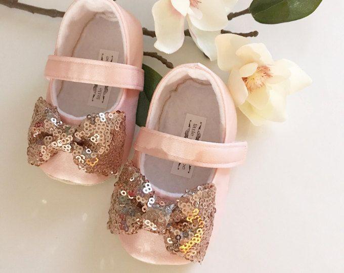 Zapatos de Blush con oro rosa arco niño niña zapatos bebé niña Florista zapatos oro rosa zapatos boda Chic zapatos - Luna