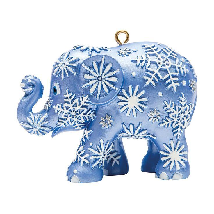 Christmas elephant for hanging, Snowfall, Blue