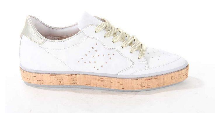 Witte sneaker van MJUS op een kurkzool. #white #sneaker #kurk #mjus