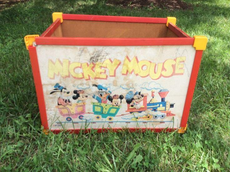Vintage Mickey Mouse Disney Wooden Toy Box W Original