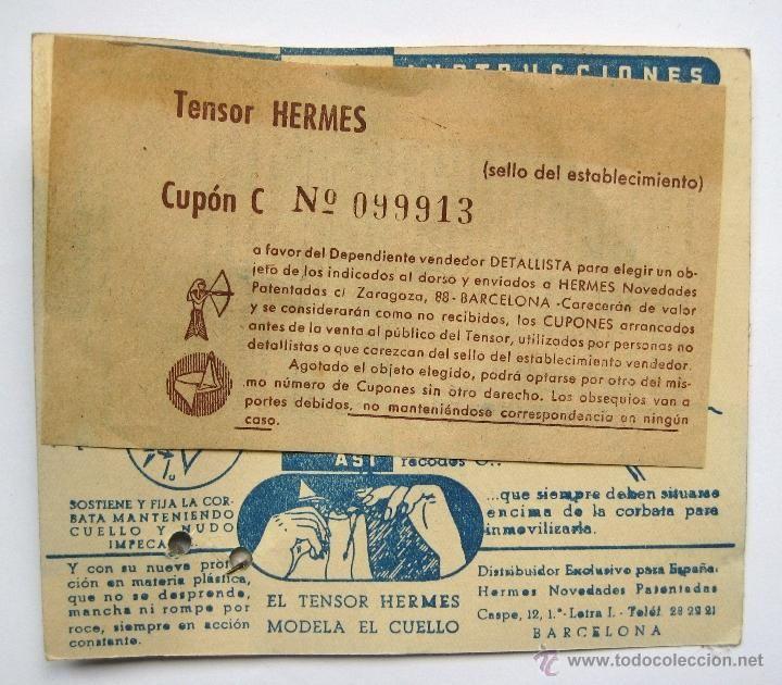 BLISTER TENSOR ARTICULADO PARA LA CORBATA HERMES 5,50 PESETAS MODELO AÑOS 50 MODA VINTAGE HOMBRE