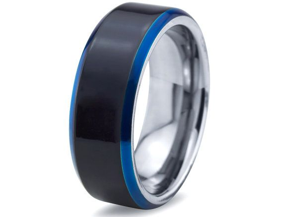 guys wedding ring mens tungsten ringblue black men - Tungsten Wedding Rings For Men