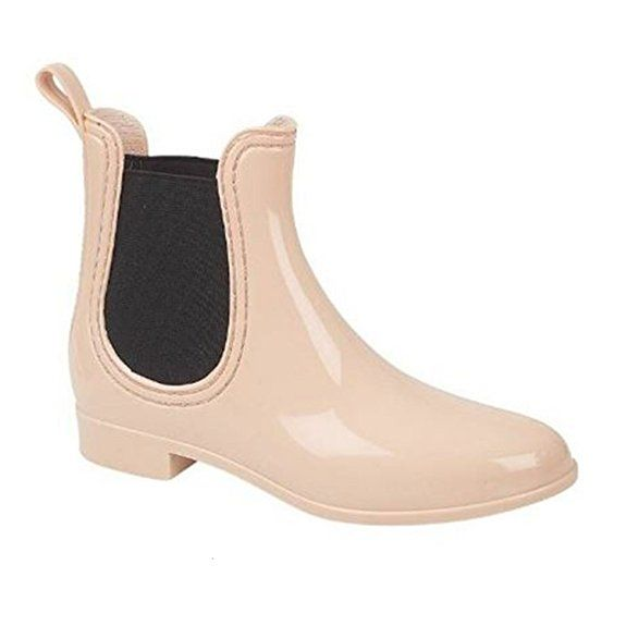 WOMENS LADIES CHELSEA STYLE LOW HEEL SHORT WELLIES WELLINGTON ANKLE RAIN BOOTS [Nude ,UK-6 / EU-39]