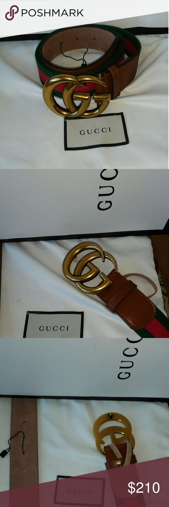 Brand New Gucci belt Brand new brown Gucci leather belt with green and red stripes Gucci Accessories Belts