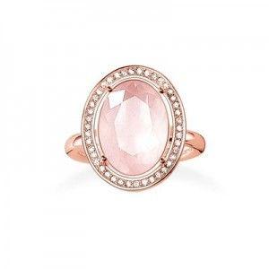 #Bague #ThomasSabo Argent 925 plaqué en #or rose 18kt #Cubiques et #quartz #rose