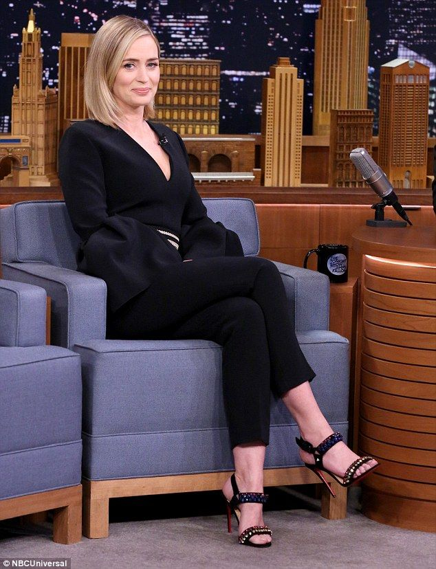 When you got it: The 33-year-old paid her visit to The Tonight Show in a jumpsuit that emphasised her cleavage