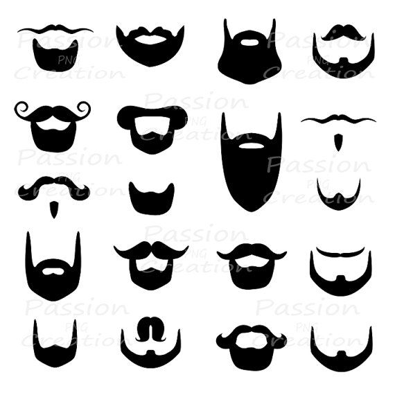 Digital beard clip art, clipart , Beard silhouette, card, scrapbooking, photo prop, photo booth prop