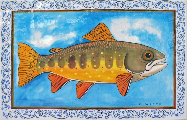 Ellie Wyeth, Place Mat - Blue Border Fish