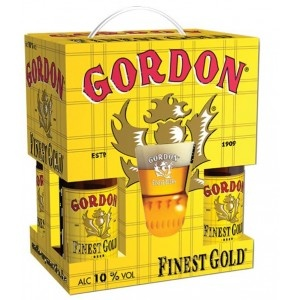 ESTUCHE GORDON FINEST GOLD 4*33CL+VASO  Cerveza de estilo Ale Dorada, fermentación alta, de 10% de alcohol.