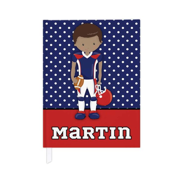 Hardcover journal in football theme, personalized kids journal, lined journal or blank journal, football gifts - red & blue/dark skin by PaperKKids on Etsy