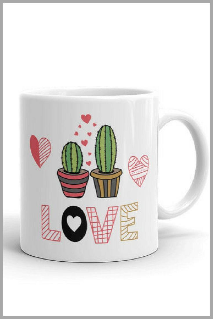 Love Cactus Mug #Mug #Coffee #HotCocoa #Ad #GiftsforHer #UniqueMug #StatementMug #Morning #Cactus #Dessert #SouthWestern #Succulent #Love
