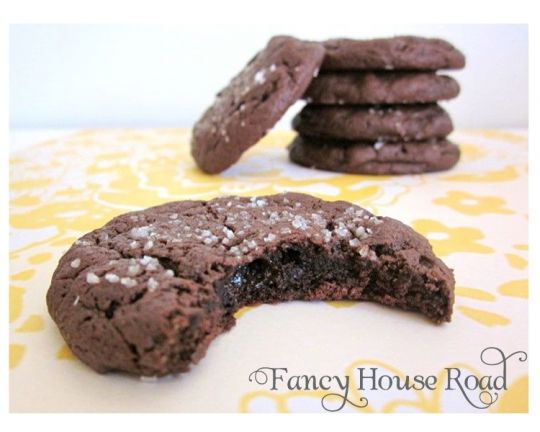 Chocolate Caramel Cookies with Sea Salt - Fancy House Road