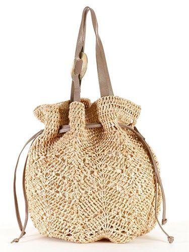 Büzgülü bağcıklı  bayan hasır çanta modeli