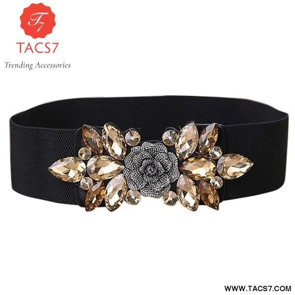 New Crystal Elastic Belt Waist Waistband Women Stretch Wide Flower Buckle