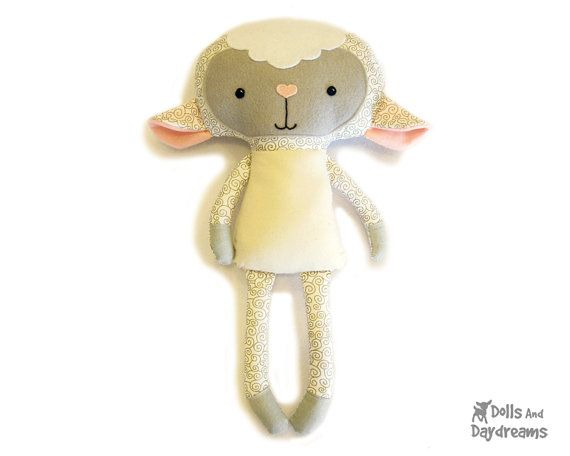"""Instant Download sewing pattern to make a child friendly stuffed toy Lamb that is 18"""" (45.7 cm) tall from cotton and felt fabrics. My versatile pattern allows you to make both sweet girl and boy lambs perfect for your little ones. It comes with a 19 page easy to follow photo and instructional tutorial, with helpful doll making tips & tricks, and an easy felt face and embroidery template. All of my doll patterns will provide you with a high quality finished softie, with no visible ugly sea..."""