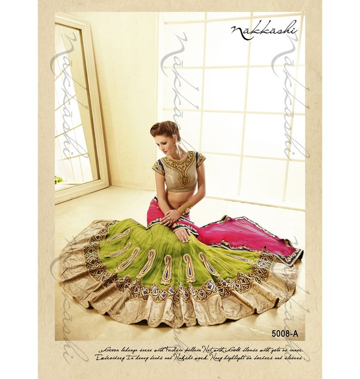 Designer Sarees :: Trendy Green & Fuchsia Saree with Traditional Touch & Golden Blouse