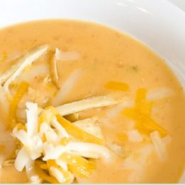 Crock Pot Chicken Tortilla Soup. Simple and delicious. If you use chicken breast, it becomes very tender when cut into small pieces. Top with avocado, monterrey jack cheese and a squeeze of lime