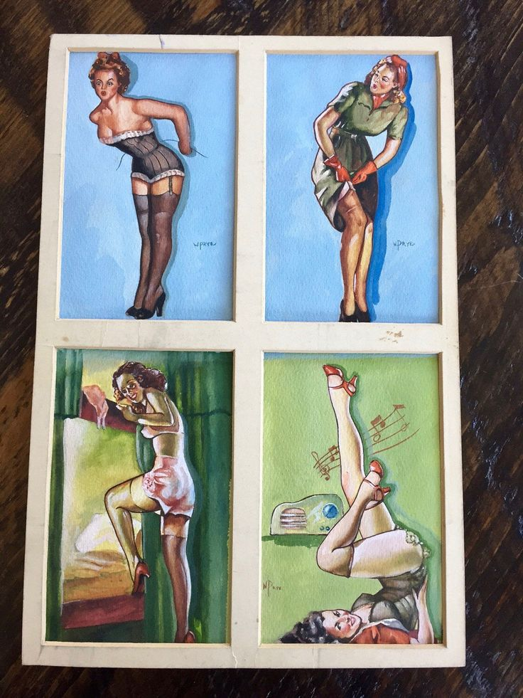 Vintage Original PIN UP GIRL Watercolour Painting, Four Pin up Girls Original Art, Vargas Girl Art, 1960s by BarnboardAntiques on Etsy https://www.etsy.com/listing/504769392/vintage-original-pin-up-girl-watercolour