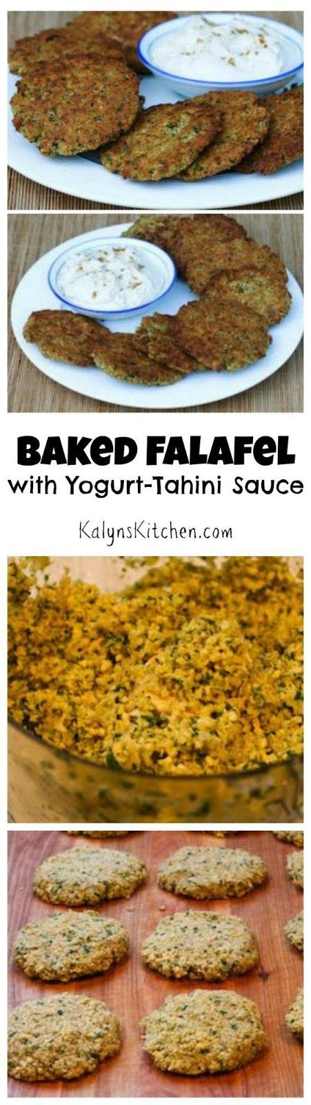 Baked Falafel Patties with a delicious Yogurt-Tahini Sauce found on KalynsKitchen.com.